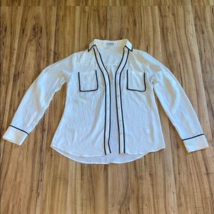 White and black button down Express blouse size XS